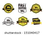 yellow free shipping badges | Shutterstock .eps vector #151040417