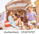 young group of people traveling ... | Shutterstock . vector #151074707