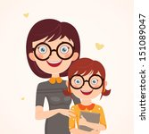 clever mother and daughter.... | Shutterstock .eps vector #151089047