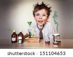 crazy scientist. young boy... | Shutterstock . vector #151104653