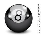 Black Eight billiard ball isolated on white  - stock vector
