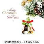 christmas card with  golden... | Shutterstock . vector #151274237
