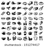 vector black food icon set on... | Shutterstock .eps vector #151274417