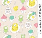 yummy food seamless pattern.... | Shutterstock .eps vector #151296683