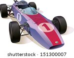 The rare Formula One racing car.  This is the great example of an old racing cars. Editable vector EPS v.10
