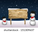 2 cute snowmen are looking to a ... | Shutterstock . vector #151309637
