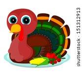 turkey sits on a platter | Shutterstock . vector #151312913