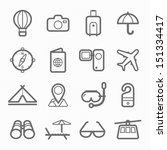 travel and holiday symbol line... | Shutterstock .eps vector #151334417