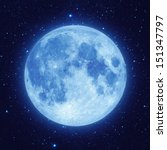 full blue moon with star at...
