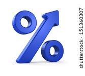 growing percent sign blue | Shutterstock . vector #151360307