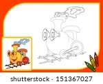 coloring book. train  drawing... | Shutterstock .eps vector #151367027