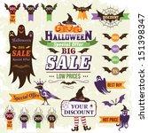 halloween sale design elements | Shutterstock .eps vector #151398347