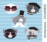 cute cartoon cats with a french ... | Shutterstock .eps vector #151405853