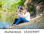 family of three having fun... | Shutterstock . vector #151419497