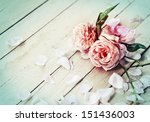 beautiful roses on wooden... | Shutterstock . vector #151436003
