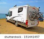 caravan holidays car bicycle  | Shutterstock . vector #151441457