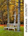 Bench In Autumn Park. Autumn...