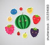 cute berry  blueberry ... | Shutterstock .eps vector #151554083