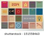 2014 simple vector calendar... | Shutterstock .eps vector #151558463