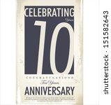 10 years anniversary retro background - stock vector