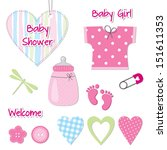 baby girl shower card  ... | Shutterstock .eps vector #151611353