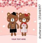 cute bear married | Shutterstock .eps vector #151646597