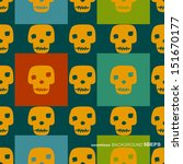 yellow skull on colorful... | Shutterstock .eps vector #151670177