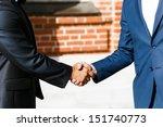 businessman  shaking hands on...   Shutterstock . vector #151740773