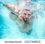 young man swimming the front... | Shutterstock . vector #151744823