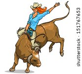 cowgirl riding a bull  isolated | Shutterstock .eps vector #151767653
