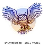 flying cartoon owl with color... | Shutterstock . vector #151779383