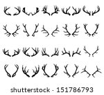 Black silhouettes of deer antlers-vector