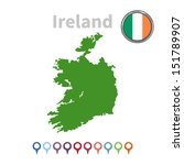 vector ireland map and flag | Shutterstock .eps vector #151789907