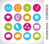 school icons set  round button... | Shutterstock .eps vector #151800833