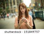 caucasian woman female using... | Shutterstock . vector #151849757