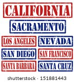 Set of California cities stamps on white background, vector illustration - stock vector