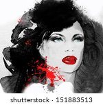 woman face. hand painted... | Shutterstock . vector #151883513