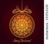 gold isolated christmas ball  ... | Shutterstock . vector #151912133