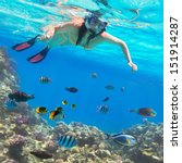 beautiful woman snorkeling in... | Shutterstock . vector #151914287