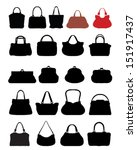 black silhouettes of handbags ...