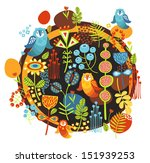 birds and flowers print. vector ... | Shutterstock .eps vector #151939253