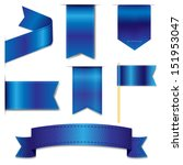 Blue Web Ribbons Set With...