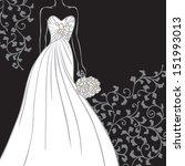 bride in beautiful wedding...   Shutterstock .eps vector #151993013