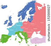 europe map colored by regions ...   Shutterstock .eps vector #152000027