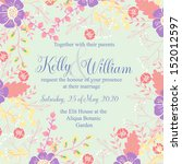 wedding invitation or card with ... | Shutterstock .eps vector #152012597