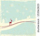 reindeer in winter landscape | Shutterstock .eps vector #152062823