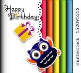 happy owl birthday party... | Shutterstock .eps vector #152095253