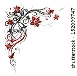 floral element  black and red | Shutterstock .eps vector #152099747