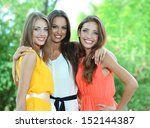 three beautiful young woman in... | Shutterstock . vector #152144387