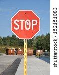 stop sign along sidewalk | Shutterstock . vector #152151083